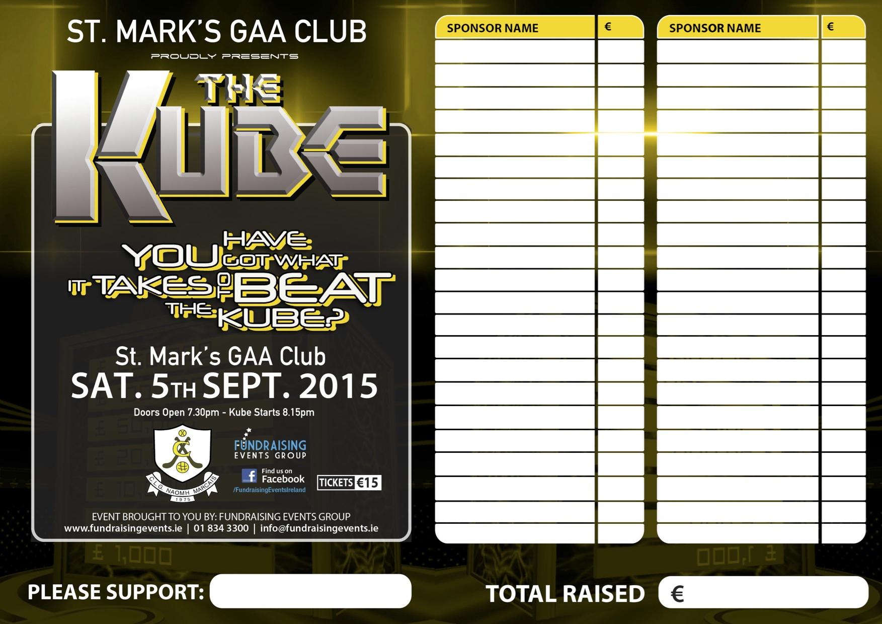 St Marks GAA Club Tallaght The Kube Fundraiser The Kube