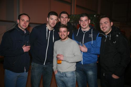 Locals who were in Mitchelstown Enterprise Centre last Saturday night for The Kube fundraiser in aid of the town's youth cafe, l-r: Stephen Fox, Shane Cahill, Shane Beston, Laurence O'Flynn and Pa Molloy - in front is Dave Murphy. Photo: John Ahern